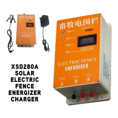 Solar Electric Fence Energizer Charger Animal Raccoon Display Screen 110v-220v