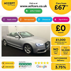 Silver AUDI A5 CABRIOLET CONVERTIBLE 1.8 2.0 TDI Diesel S LINE FROM £67 PER WEEK