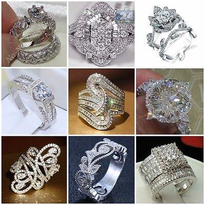 Ring - Fashion 925 Sterling Silver White Topaz Wedding Ring Women Men's Jewelry Sz 6-10