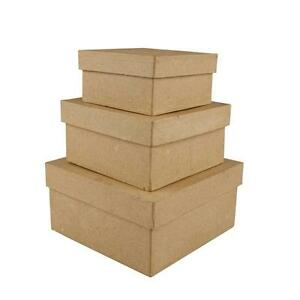 3 Square Shaped Boxes Craft Storage Brown Paper Mache Hand Made 10 x 12.5 x 15cm