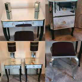 Mirrored Bedroom Furniture Set, tables, dresser, drawers, stool, lamps