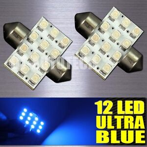 Blue-SMD-12-LED-Map-Dome-Interior-Lights-Bulbs-31MM-Festoon