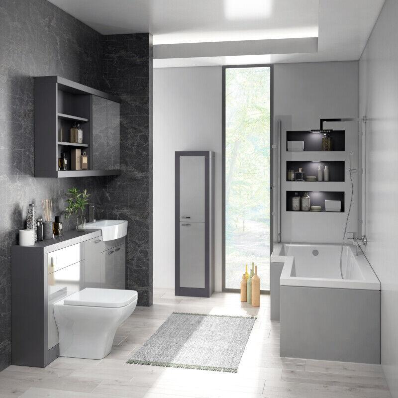 Détails sur 1500 mm salle de bains moderne meuble vasque toilette miroir  meuble de rangement salle de bain suite option- afficher le titre d\'origine