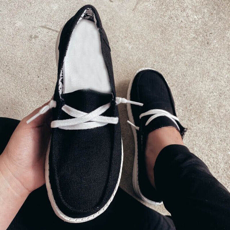Womens Flat Trainers Lace Up Canvas Ladies Casual Loafers Plimsolls Pumps Shoes