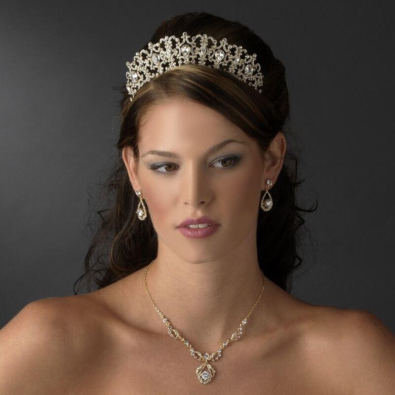 BRIDAL TIARA Royal Gold Crystal Headband Bridal Headpiece