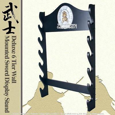 Deluxe 6 Tier Wall Mounted Katana Wakizashi Sword Display Stand w/ Samurai Plaq