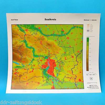 Landkarte   Saalkreis Halle Halle-Neustadt   DDR 38 x 44 cm von 1994 Plast