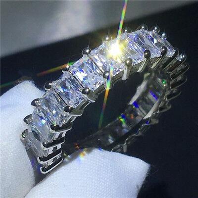 Luxury Princess White Topaz Wedding Ring 925 Silver Promise Valentine's Day Gift - Valentine Rings