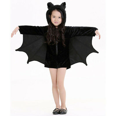 Black Bat Costumes Connect Wings Cute Animal Halloween Party Suit For Kids Girls