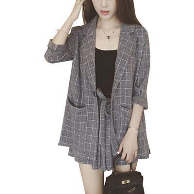 Elegant Women Suit Thin Short Sleeve Coat Pants Shorts Blazer Office Workwear - Short Suit