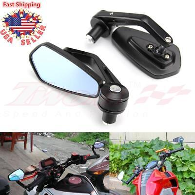 "7/8"" Aluminum Rear View Side Mirrors Handle Bar End Shield Black Motorcycle BIke"