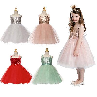 Girls Kids Sequins Tutu Skirt Party Dress Christmas Wedding Dresses Gown USA