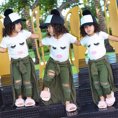 Newborn Kid Baby Girls Eyelash Tops T-shirt +Hole Hot Pants Outfits Set US - Hot Outfits