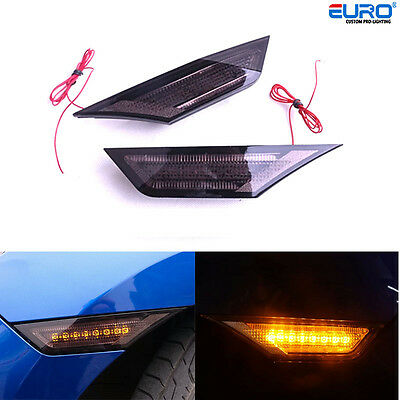 Smoked Amber/white LED  2way Side Marker Lights for 16+ Honda Civic RS 10th Gen