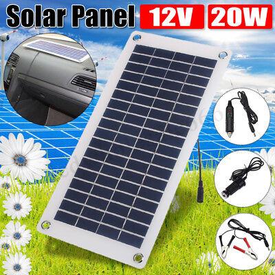 20W Solar Panel 12V/5V Battery Charger USB for Car Boat Caravan Power Rig out US