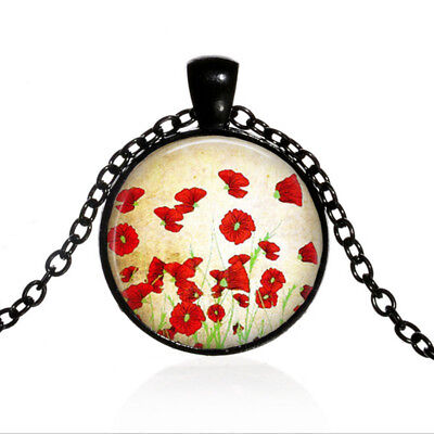 Red Flower Photo - Red Poppies Flower Black Dome glass Photo Art Chain Pendant Necklace #TUO456