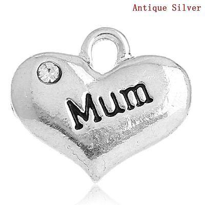 "4 x ""Mum"" Heart Charm Pendants Jewellery Craft - 16mm - L32655"