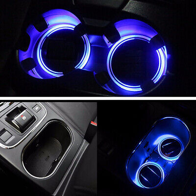 2pcs Solar Cup Holder Bottom Pad Led Light Cover Trim Atmosphere Lamp For Car