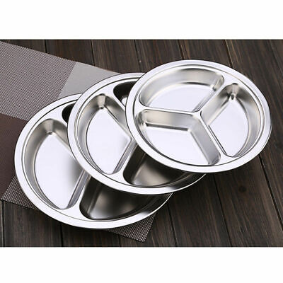 - Dinner plate Silver Stainless Steel 3 Sections Round Divided Dish Snack 2018