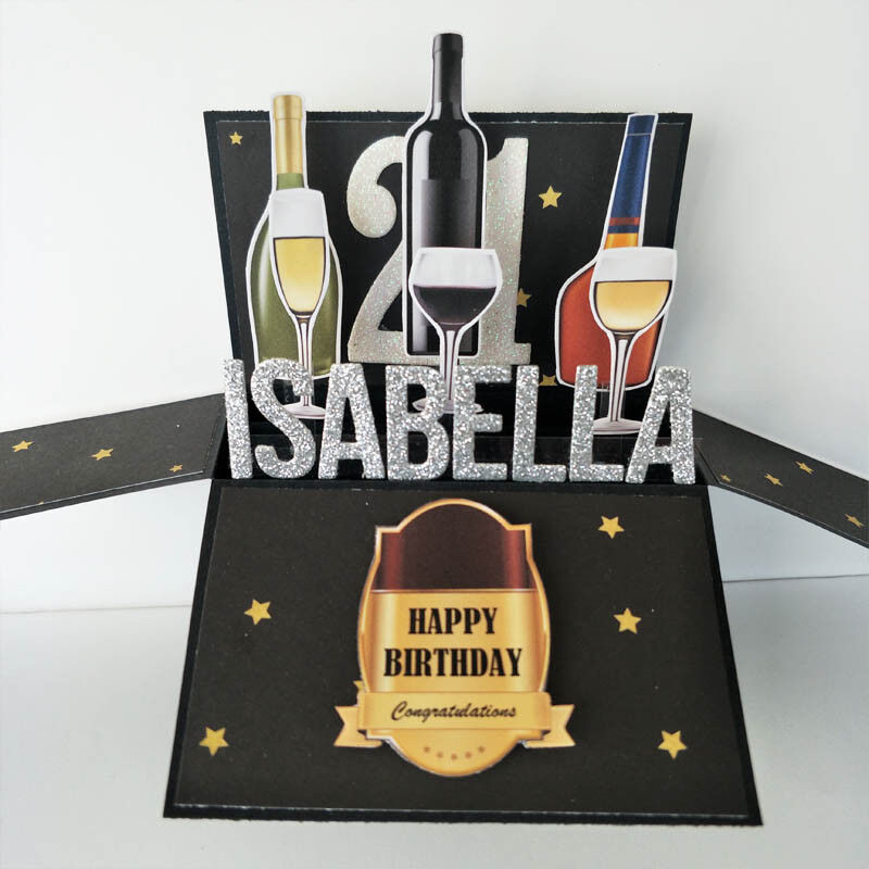 Handmade NAME & Age personalised 3D birthday card, wine card 21st birthday card