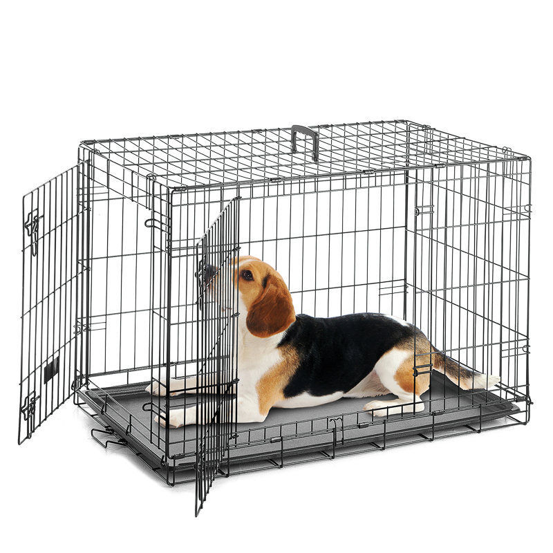 Dog Cage Puppy Crate Metal Pet Bed Basket Kennel Transport T