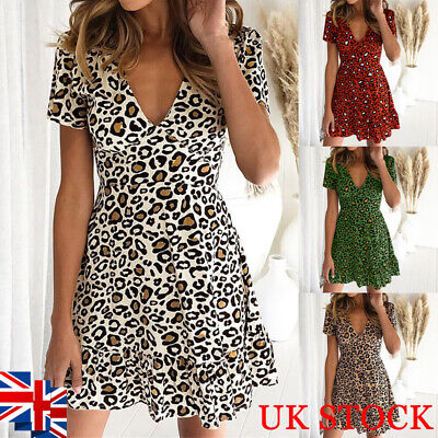 Women Leopard V Neck Mini Dress Ladies Slim Fit Holiday Skater Swing Dress 10-16