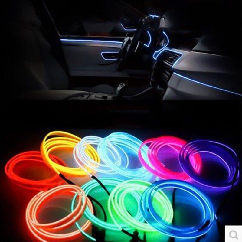 RGB LED EL Wire Neon Glow Car Interior Atmosphere Strip Light Decor Belt UK Stoc