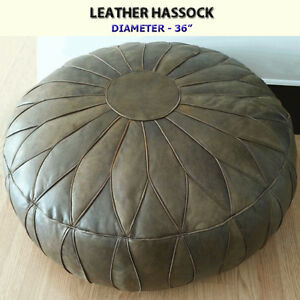 GENUINE LEATHER HASSOCK / OTTOMAN - EXCELLENT CONDITION