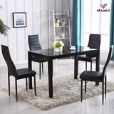 5 Piece Glass Metal Set 4 Chairs Breakfast Kitchen Room Dining Table Furniture