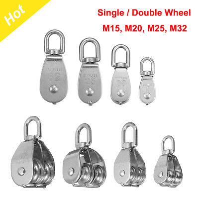 M15-32 Stainless Steel Single Double Wheel Lifting  Swivel Pulley Block