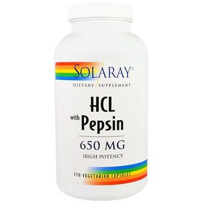 Solaray - HCL with Pepsin, 650 mg, 250 Vegetarian Capsules ()