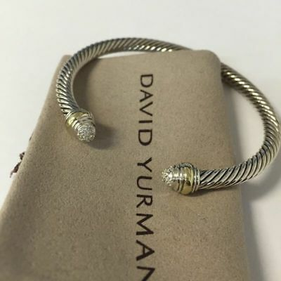 (David Yurman Silver & 14k Gold 5mm Cable Cuff Bracelet With Diamonds Tips)