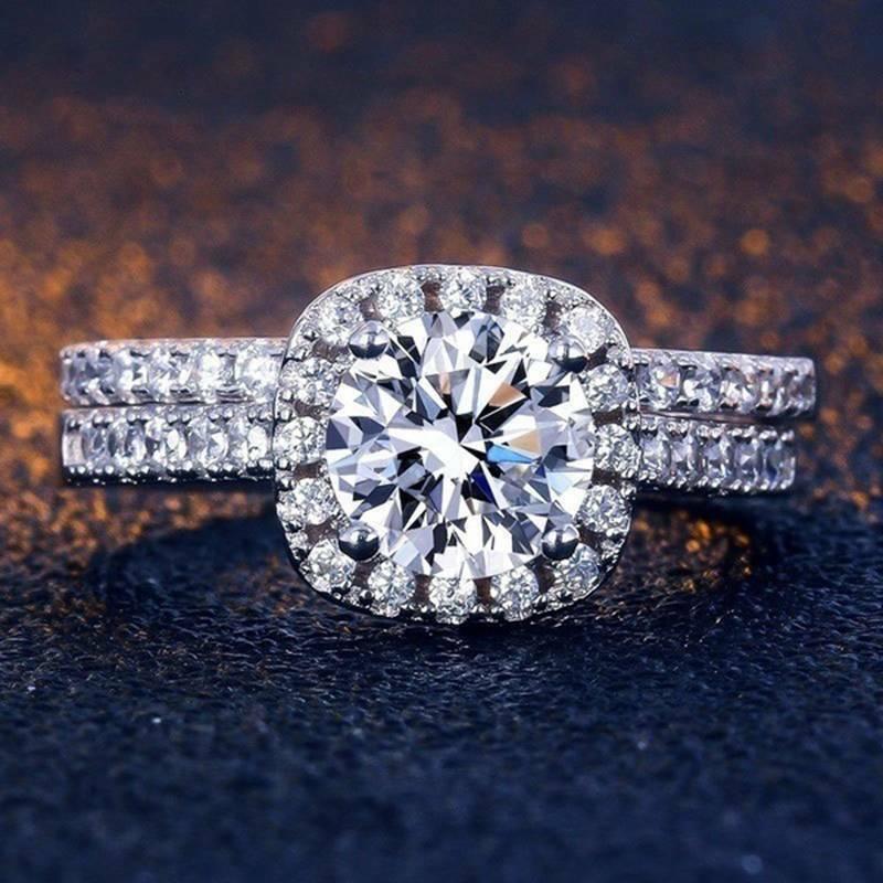 Fashion White Sapphire Silver Set Wedding Engagement Jewelry