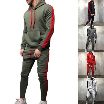 2pcs Mens Full Tracksuit Casual Fitness Sports Sweatshirt Hooded Hoodie+Pant Set Hooded Pant Set