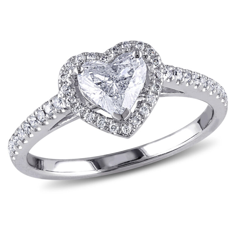Amour 1 Ct Tw Halo Heart Diamond Engagement Ring In 14k White Gold