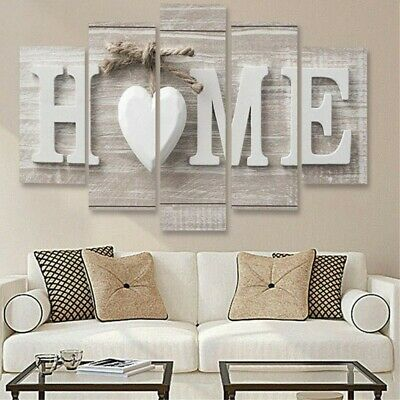 5Pcs Concise Fashion Wall Paintings Home Letter Printed Photo Art Wedding Decor