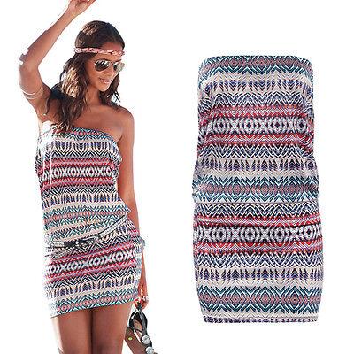 Women Bandeau Tube Dresses Summer Holiday Beach Casual Short Mini Dress Sundress