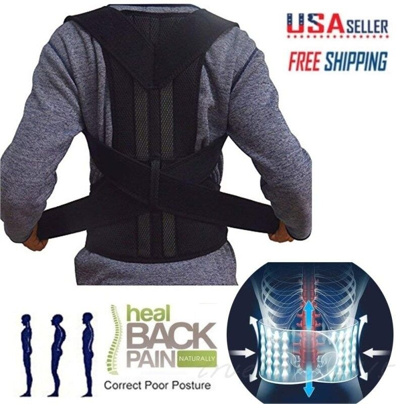 Man Woman Back Support Belt Posture Corrector Brace Lower Up