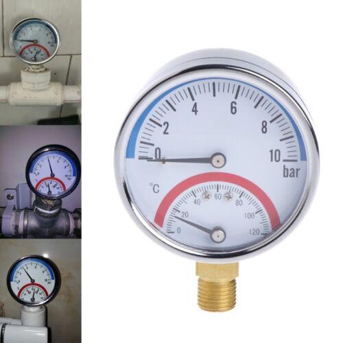 10 Bar Temperature Pressure Gauge Meter G1/4 Thread 2 in 1 Thermometer Monitor