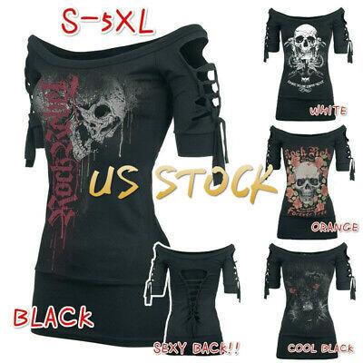 Women's Fashion Skull Printed Cool Black T-shirt Plus Size Slash Slit Tops