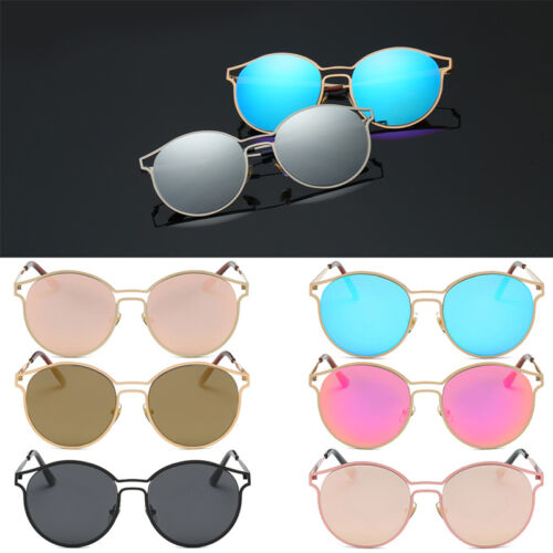 Classic Oversize Cat Eye Sunglasses Flat Mirrored Lens Metal Frame Women Fashion