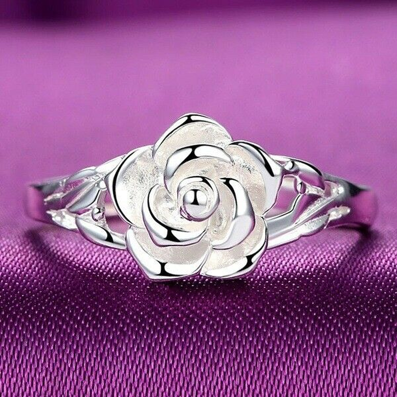 Women Rose Shape Carved Silver Ring Lady Wedding Engagement
