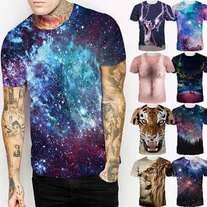 2017-Verano-Elegante-Hombre-Mujer-GALAXY-SPACE-3d-Estampado-Camiseta-manga-corta