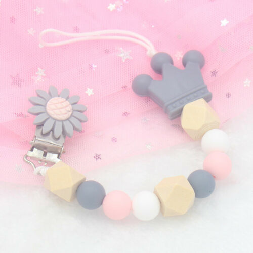 Flower Silicone Baby Pacifier Clips Silicone Crown Pacifier Chain Holder