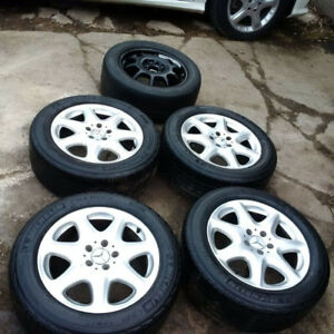 SET OF 4 MERCEDES S500 ALUMINUM RIMS AND TIRES FROM 2004 S500 MB