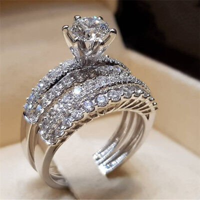 Filled Set (Fashion 925 Silver Filled Wedding Set Rings for Women White Sapphire Size 5-12 )