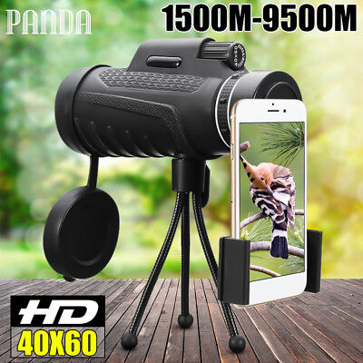 PANDA 40x60 HD Optical Monocular Night Vision Hunting Camping Telescope + Tripod