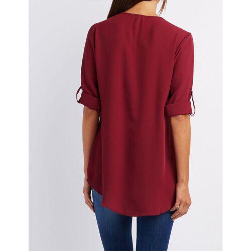 Summer Women V-Neck Zipper T Shirt Loose Casual Blouse Short Sleeve Tunic Tops 3