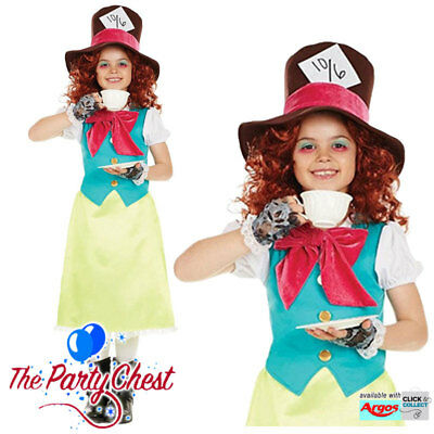Mad Hatter Tea Party Outfits (GIRLS LITTLE MISS MAD HATTER COSTUME Child Book Day Tea Party Fancy Dress)