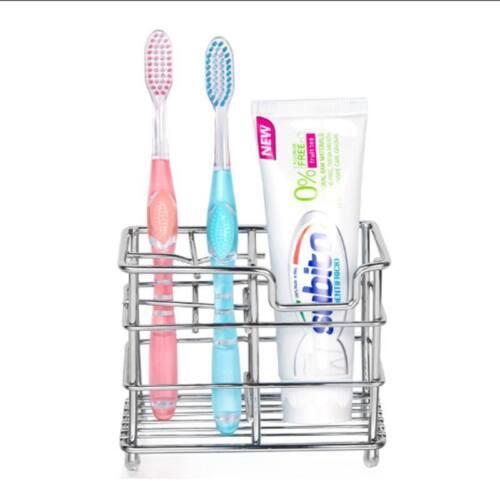 Stainless Steel Bathroom Toothbrush Toothpaste Holder Case Stand Organizer WE